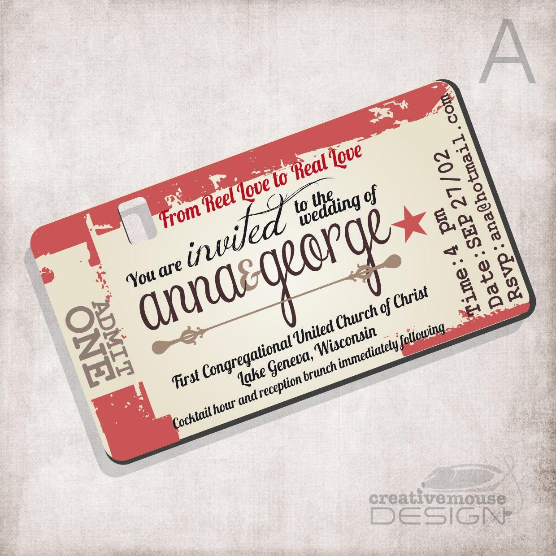 Pin Movie Ticket Wedding Invitation Template On Pinterest U2026