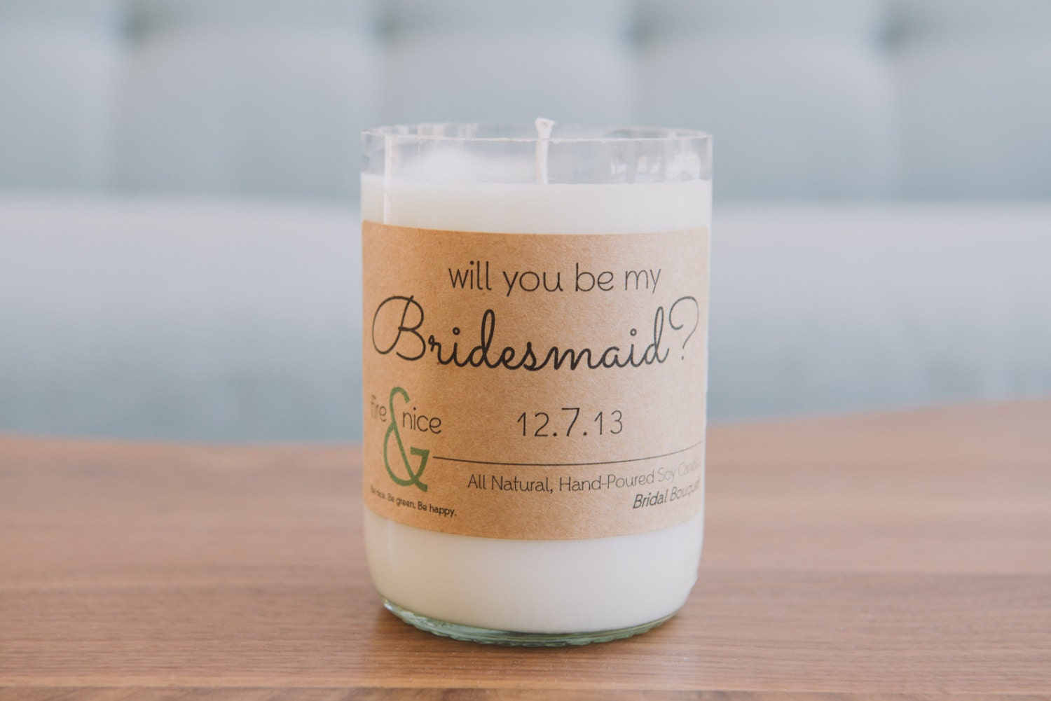 Will You Be My Bridesmaid -Wedding Party Candlegram - Soy Candle - Wine Bottle Candle - Eco-friendly Giftware - Greeting Card