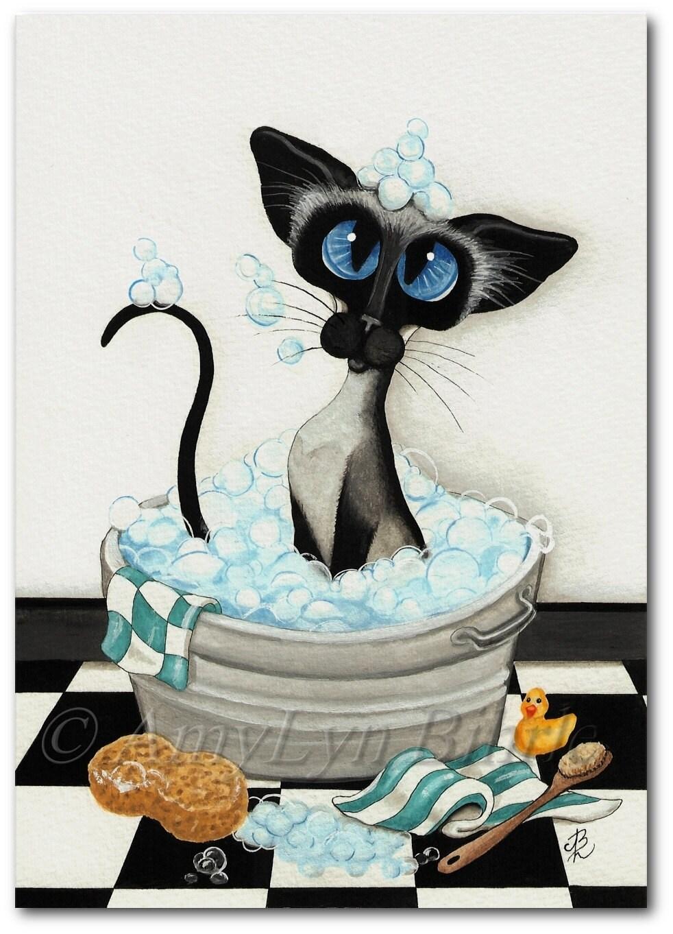 Siamese Cat Bath Bubbles Art Prints Amp Aceos By By Amylynbihrle
