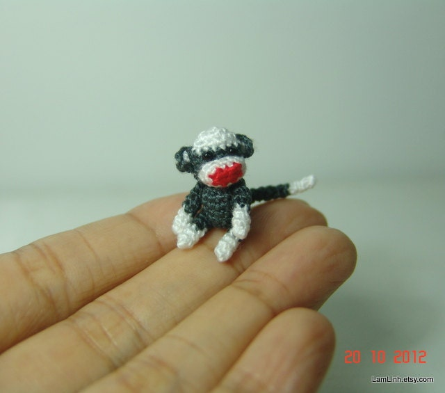 Amigurumi Crochet Sock Monkey : 1 inch miniature sock monkey Tiny amigurumi crochet by LamLinh