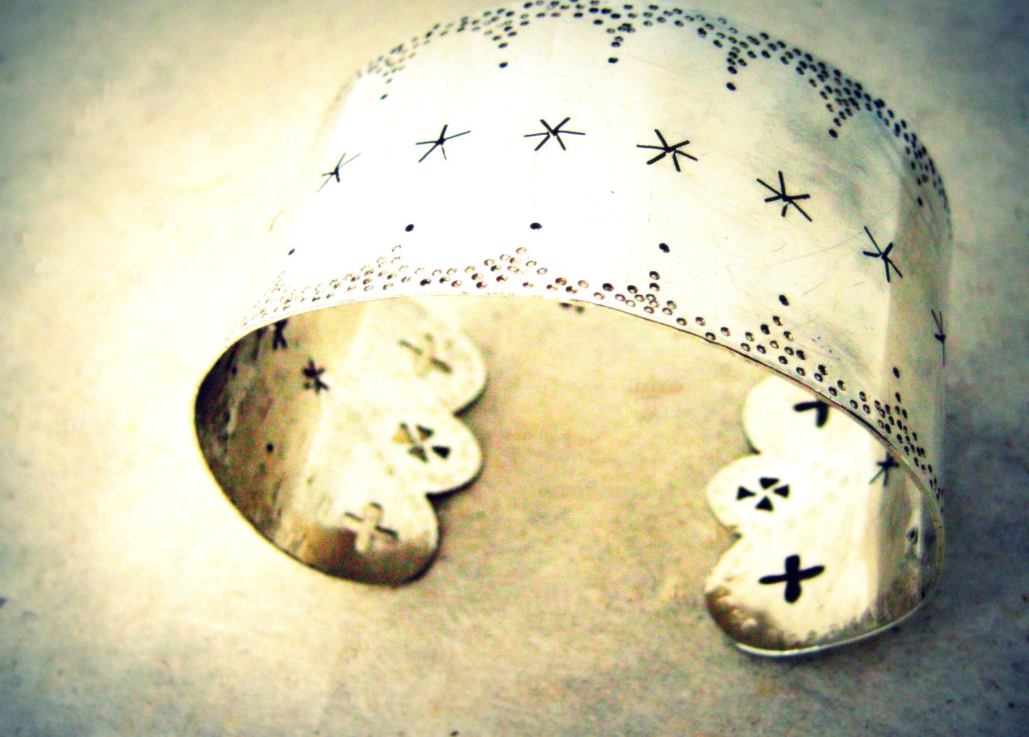 Romantic Pierced and Stamped Sterling Silver Cuff Bracelet - BirchLight