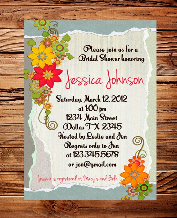 Floral Border Bridal shower Invitation Wedding Shower Invitation