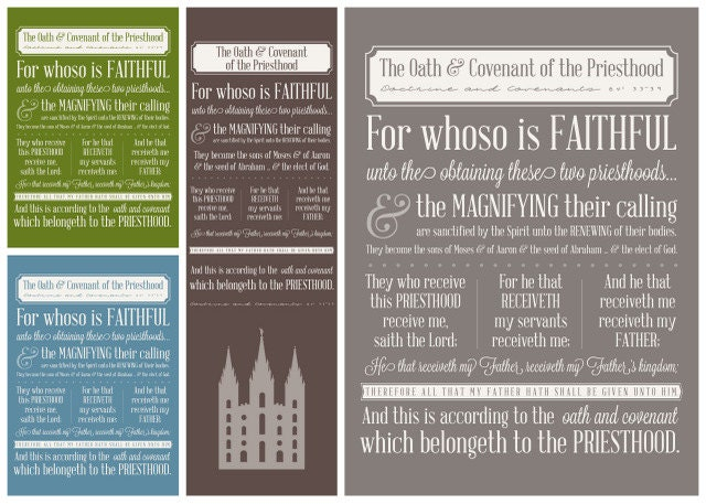 Nerdy image regarding oath and covenant of the priesthood printable