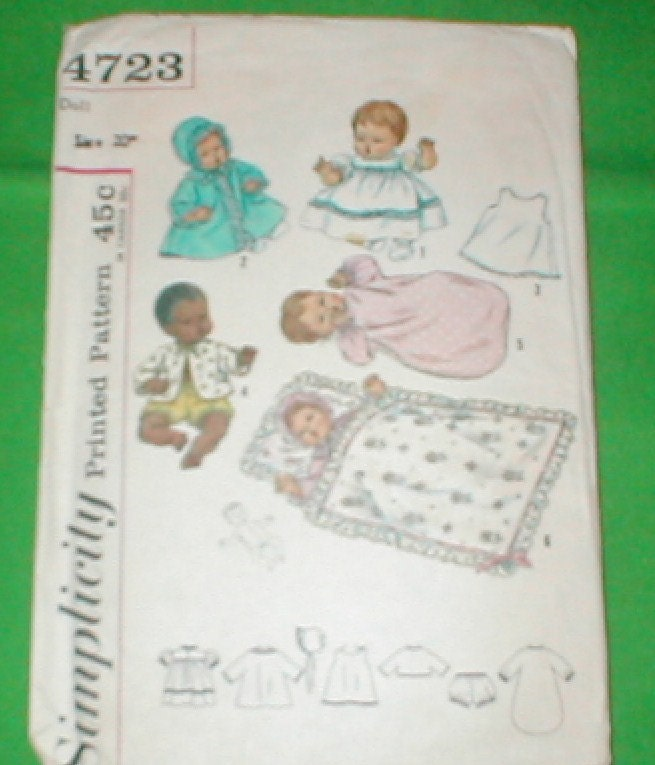 vintage simplicity baby doll clothes patterns 4723 by