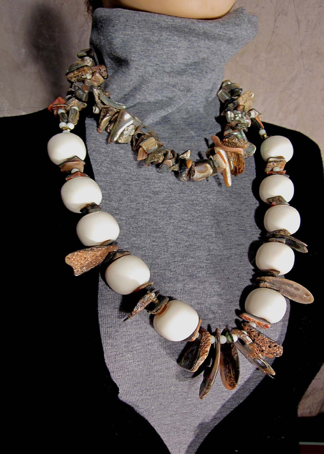 Michael Tarillion Art to Wear Original Abalone and Ivory Lucite Necklace