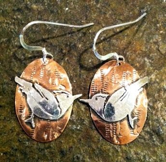 sterling silver and copper bird earrings - RollingPrairieJewels