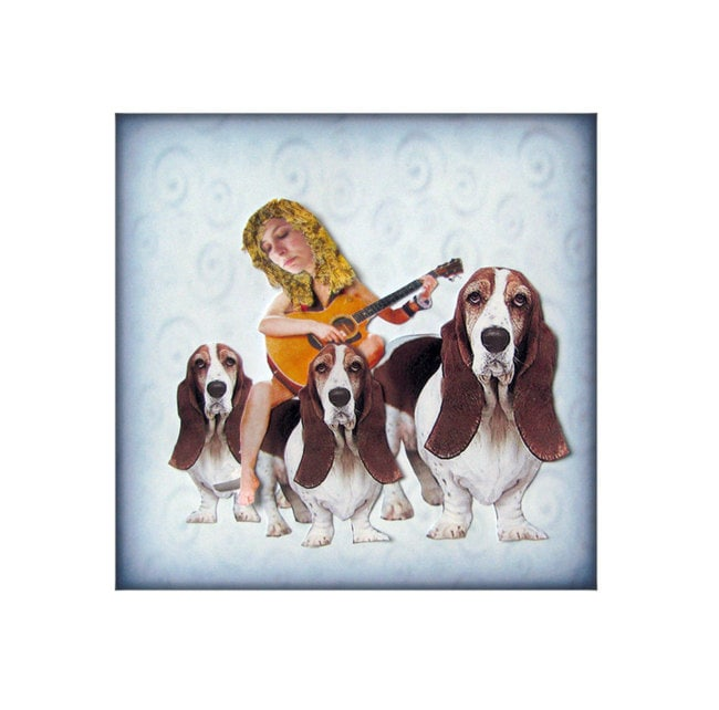 bassett hound, dog portrait, animal art, dog art, blue home decor, shabby chic, sad, pensive, guitar, woman, pet collage, tagt team, pet art
