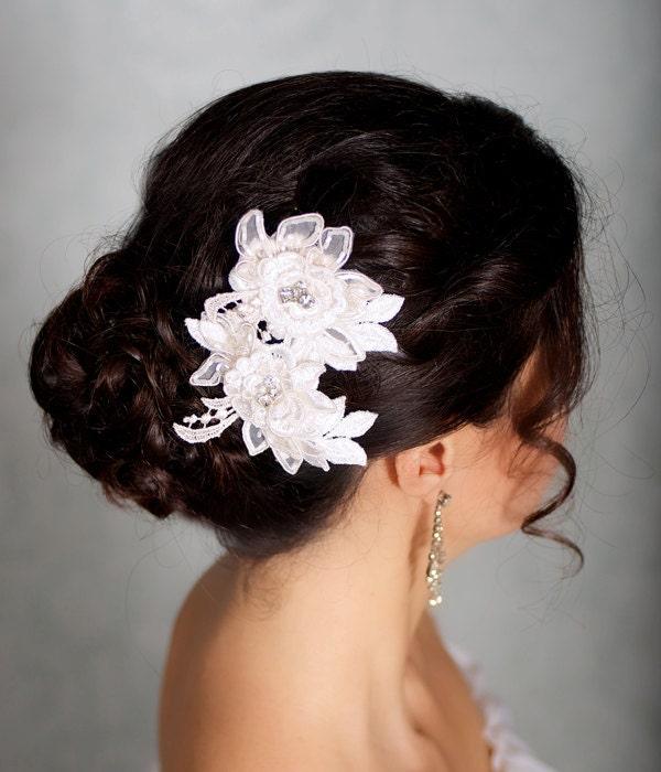 Black Flower Hair Accessory J7213: Ivory Hair Flowers Lace Headpiece Bridal Hair By GildedShadows