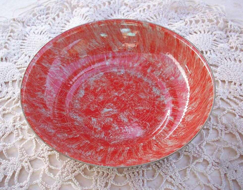 Vintage Painted Brass Bowl or Dish in Red Orange and Robins Egg Blue - nenafayesattic