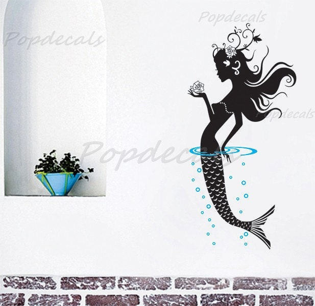 mermaid wall decal girls wall sticker baby girl room by mermaid bath decal stickers totally movable ebay