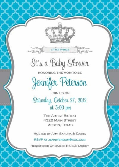 baby shower invitation prince crown for boy diy printable blue