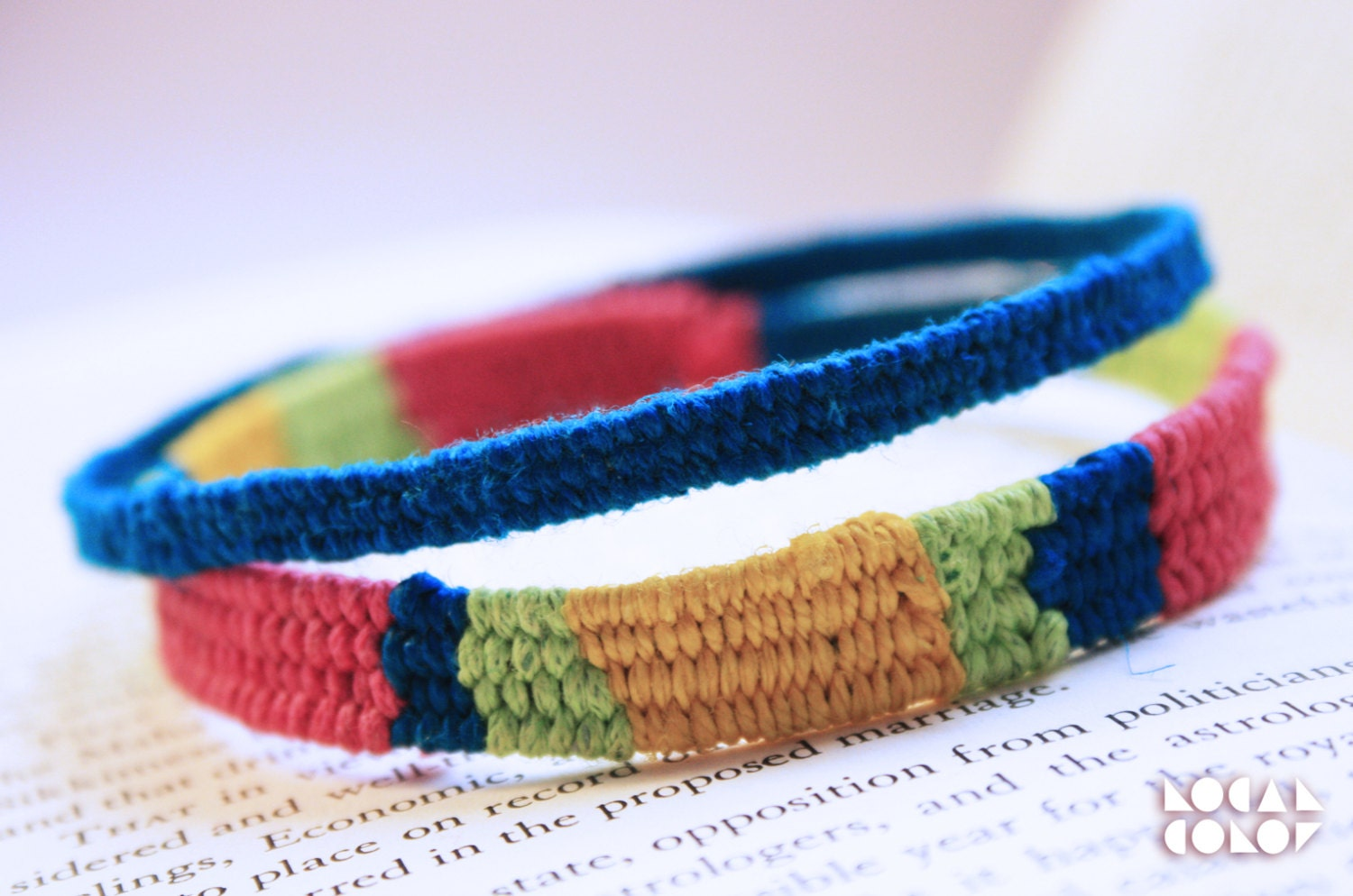 Hand Woven Brightly Colored Thread Wrap Friendship Bangle Set - LocalColorCreations