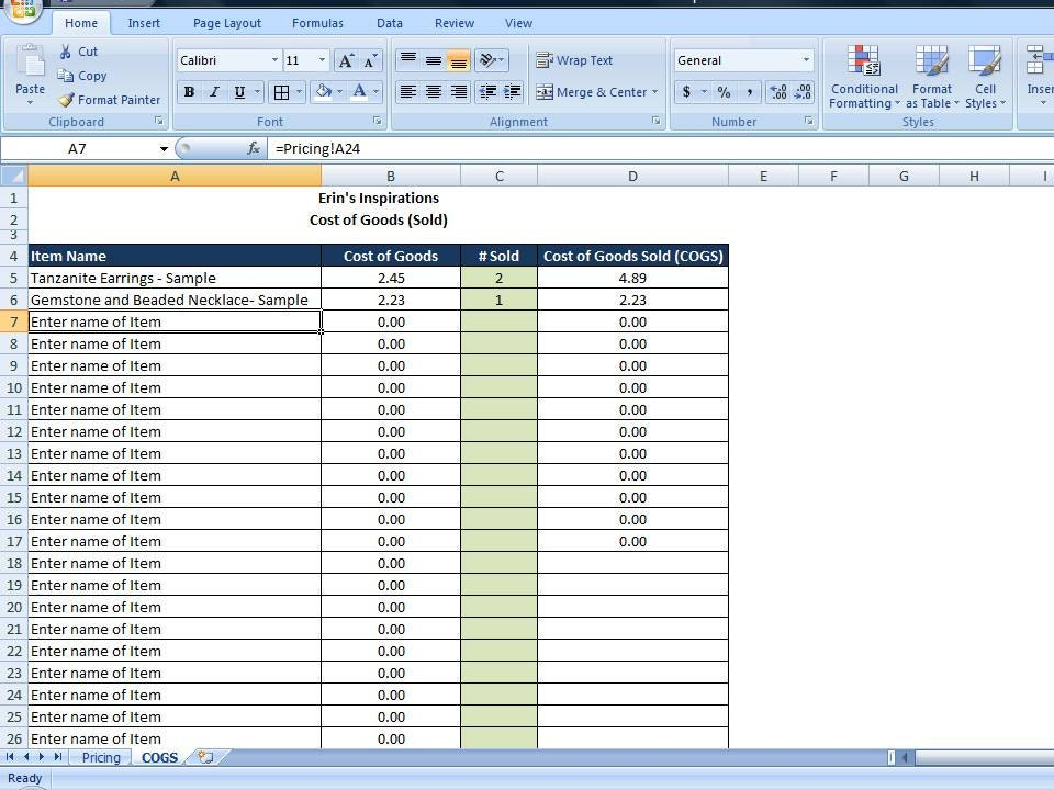 Cost of Goods Sold Spreadsheet, Calculate COGS for Handmade Sellers