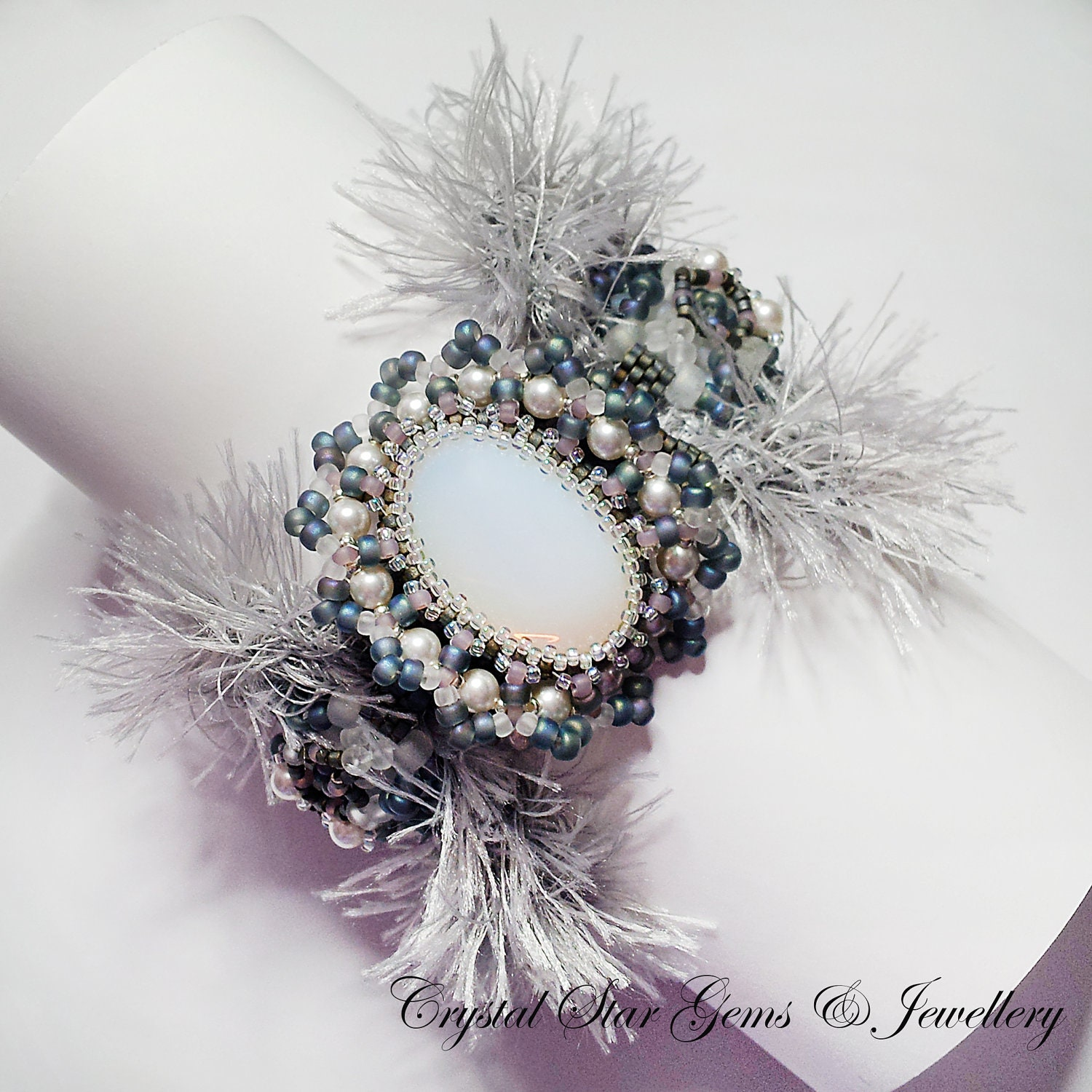 Misty Bead-woven Cuff - Crystalstargems