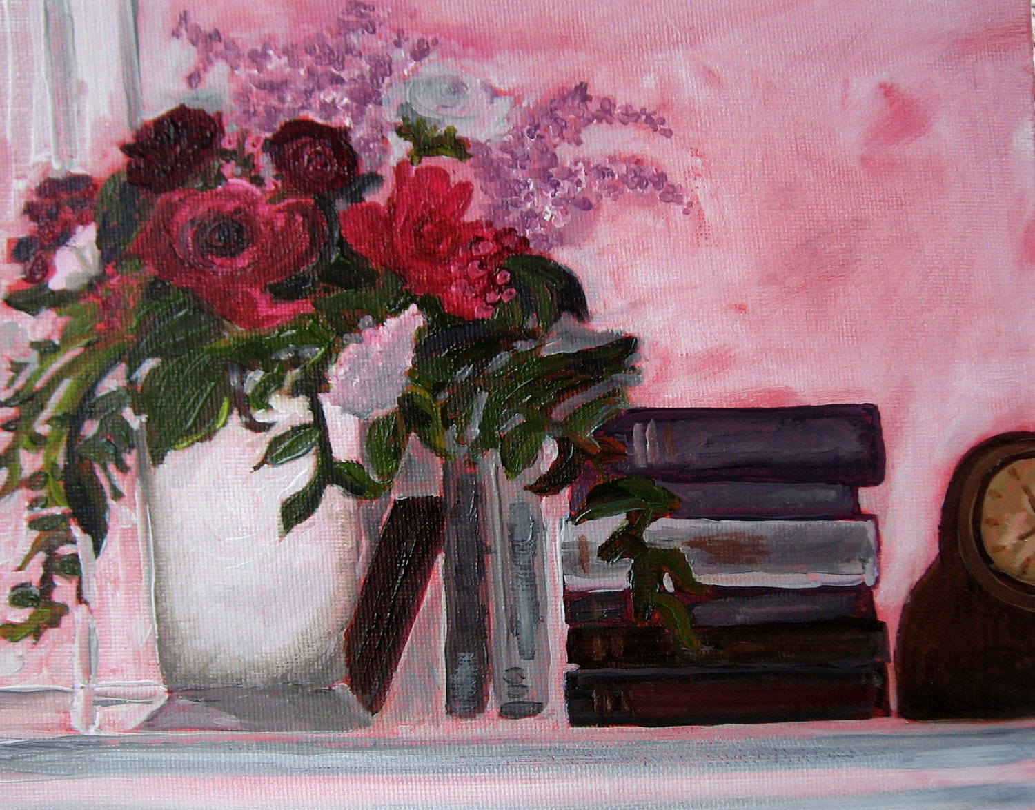 Roses and Books, oil painting, still life, original, flowers, clocks, books, painting, decor, handmade - maureencarrigan