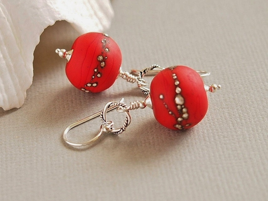 Red Beaded Earrings, Artisan Lampwork, Organic, Etched, Sterling Silver - POPPY - BeguiledByTheBead