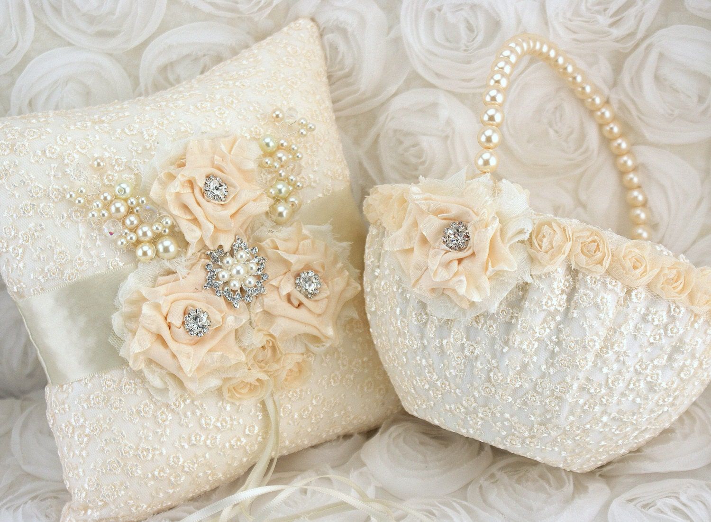 Vintage Flower Girl Basket And Ring Bearer Pillow : Bridal ring bearer pillow and flower girl basket set by