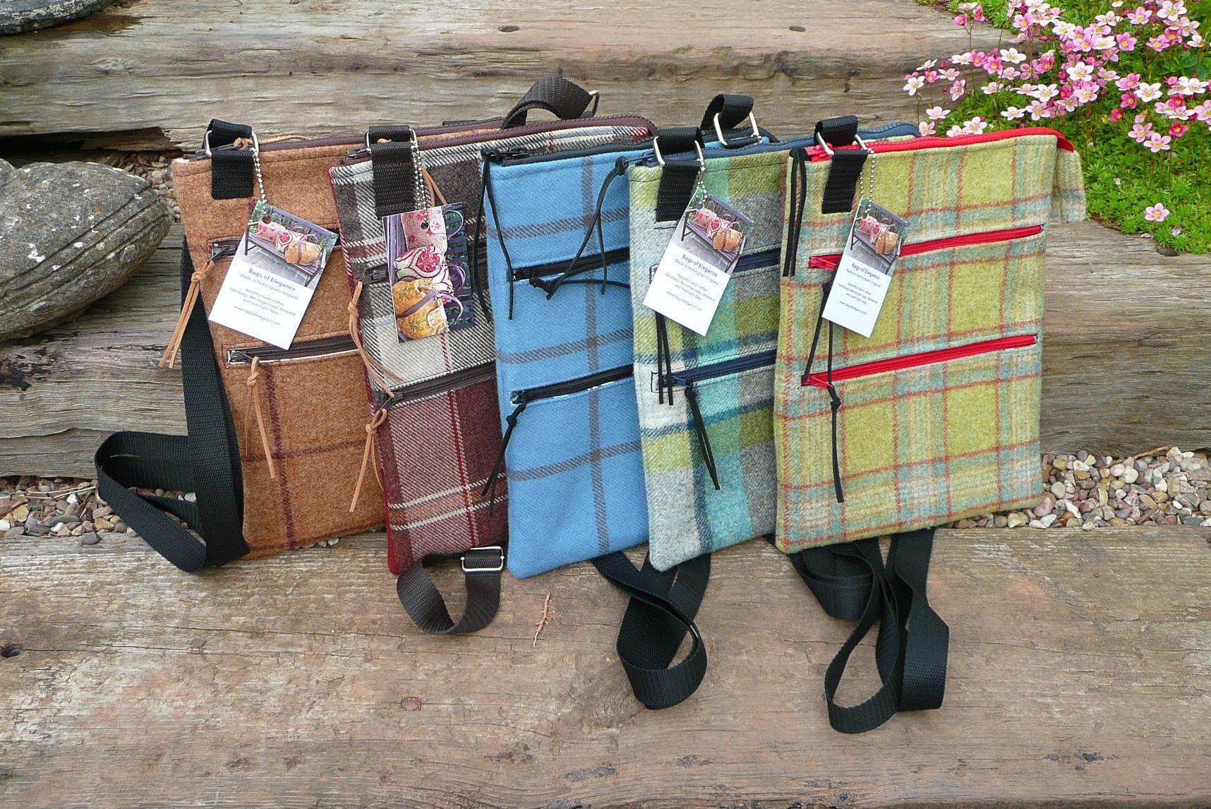 Messenger bag Zip top bag Mini tablet pouch cross body bag zip pouch bag tweed bag zip front bag shoulder bag
