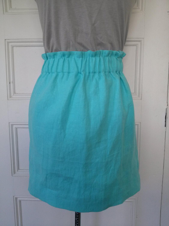 Auqa Linen Elastic-Waist Skirt