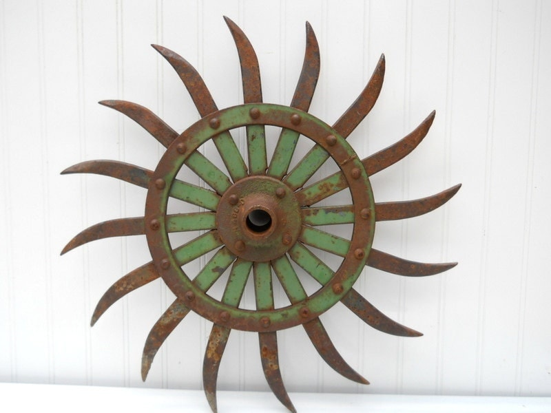 Vintage large gear sprocket farm rotary hoe wheel Industrial metal pale green rusty - TheIndustrialFarmer