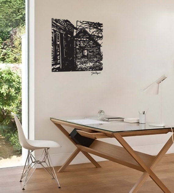 FREE SHIPPING Fine Art Collaboration Joelle Bergeron Cabin Wall Decal for Home, Office, Living Room and Studio - ZestyGraphics