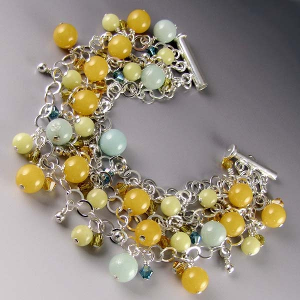 Handcrafted Bracelet of Three Strands Sterling Silver Chain with Stones and Swarovski Crystal Bead Charms in Yellow Green and Aqua - BrackenDesigns