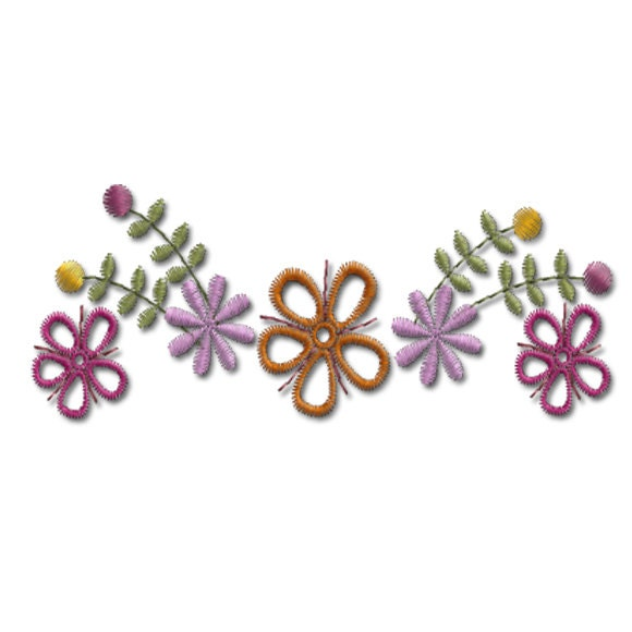 Flower border retro flowers machine by embroidershoppe on