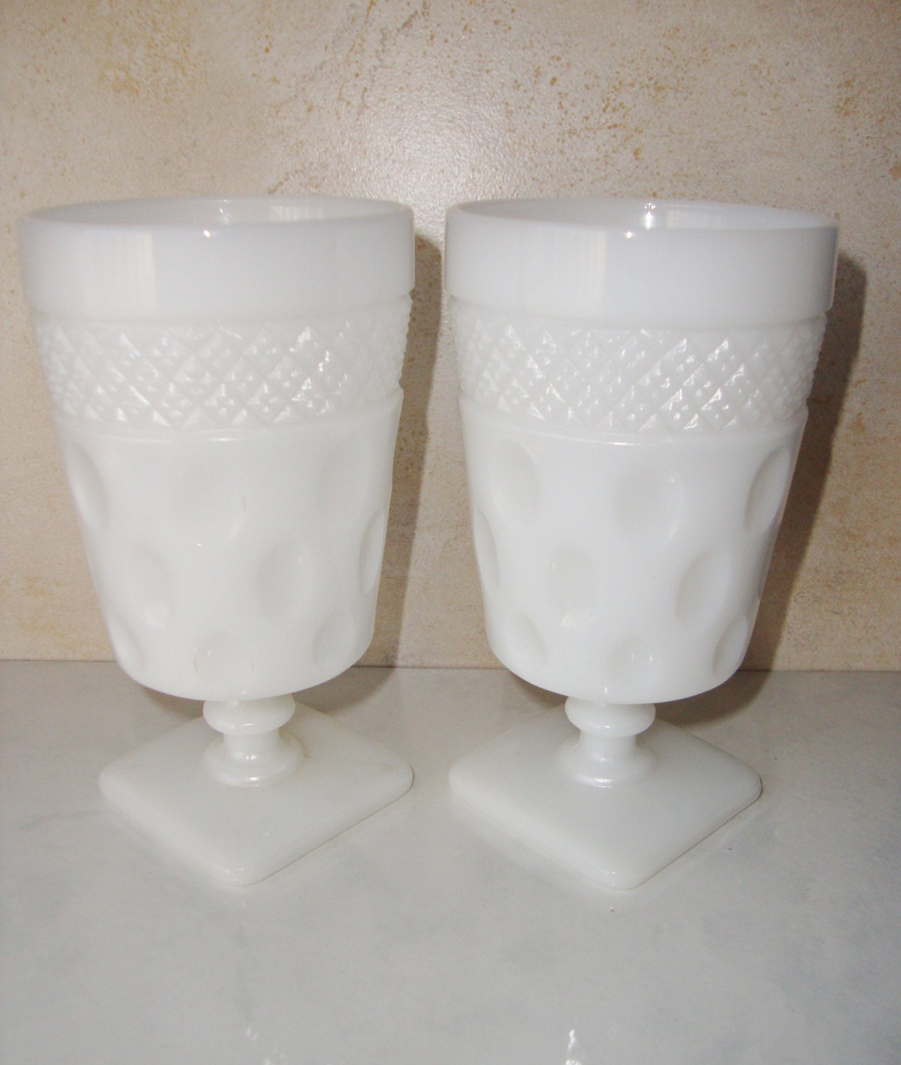 Vintage mckee opal milk glass footed by wintervillewonders on etsy - Square bottom wine glasses ...