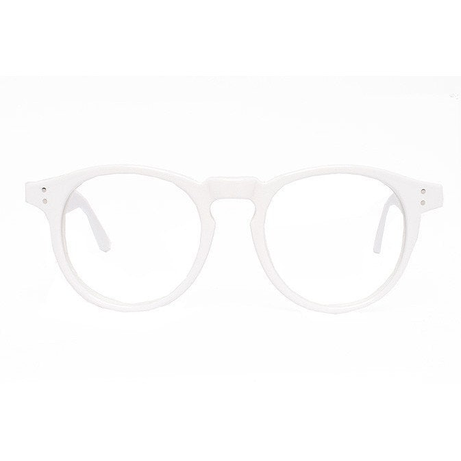 Big solid White Round Vintage Eyeglasses Frame by ...