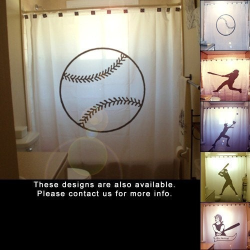 Baseball shower curtain ball game kids by customshowercurtains