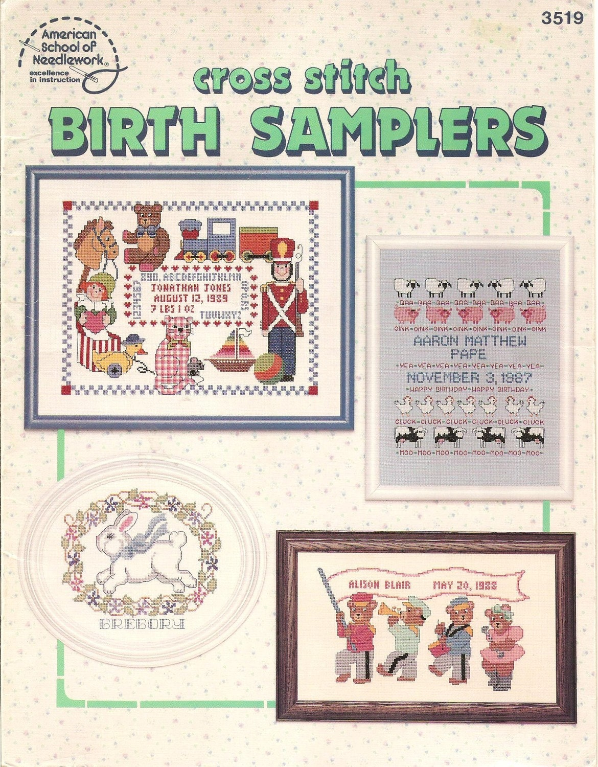 Cross stitch birth samplers pattern book by lilbitsofmine