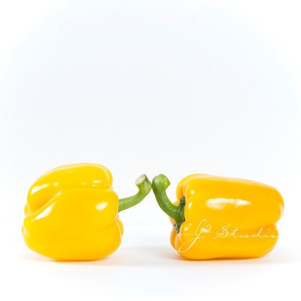Making Contact, Pictures of Peppers, Vegetable Art, Fine Art Photography Print, Yellow Making A Connection Minimalist Whimsical Photo