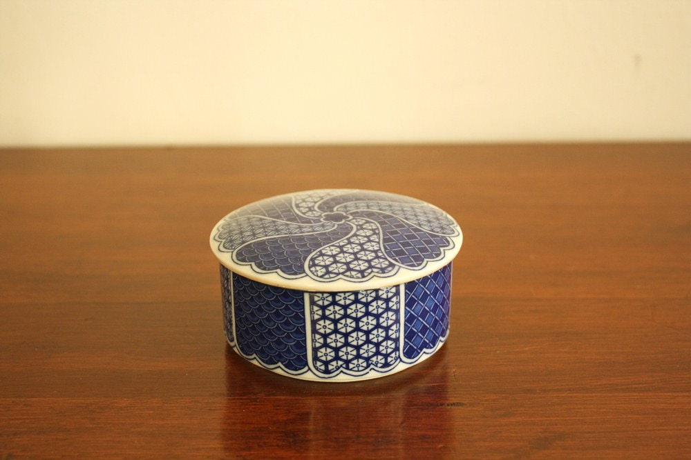 Navy blue and white round porcelain box with lid