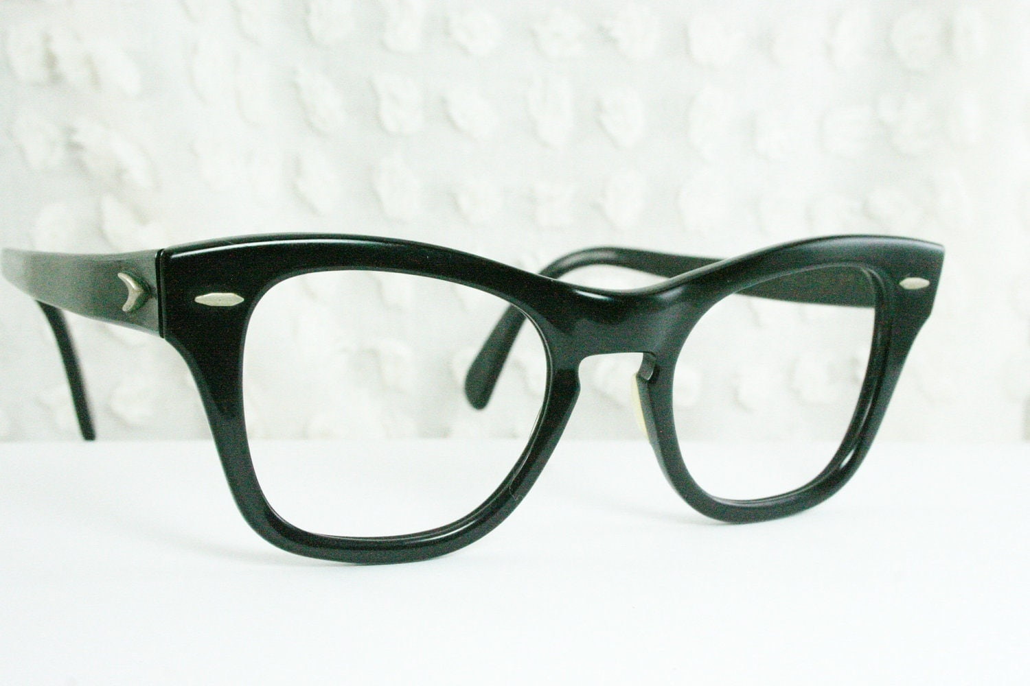 Vintage 60s Mens Glasses 1950s Black Eyeglasses By Diaeyewear