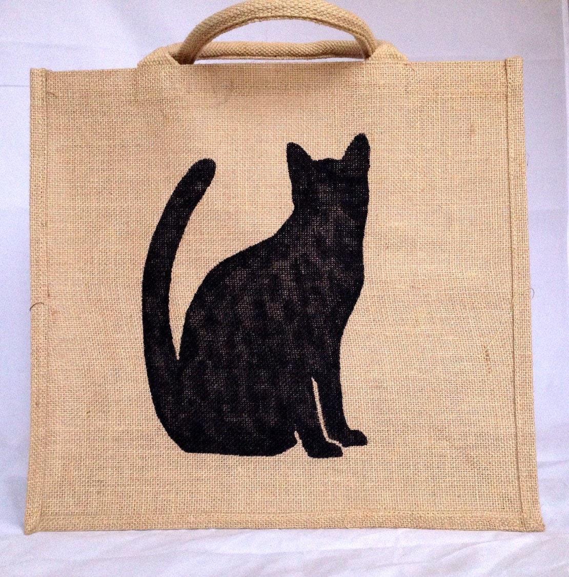 Large cat jute bag hand painted burlap gift bag hessian tote bag shopping carrier bag  black