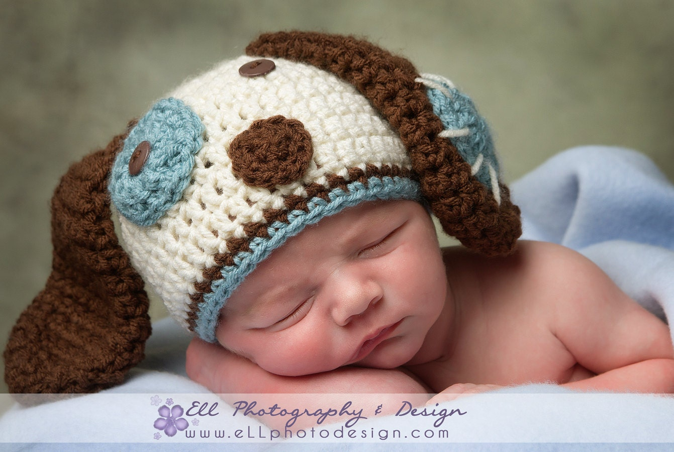 Crochet Pattern Baby Dog Hat : Crochet Puppy Dog Hat Photography Prop by cherlynnephotography