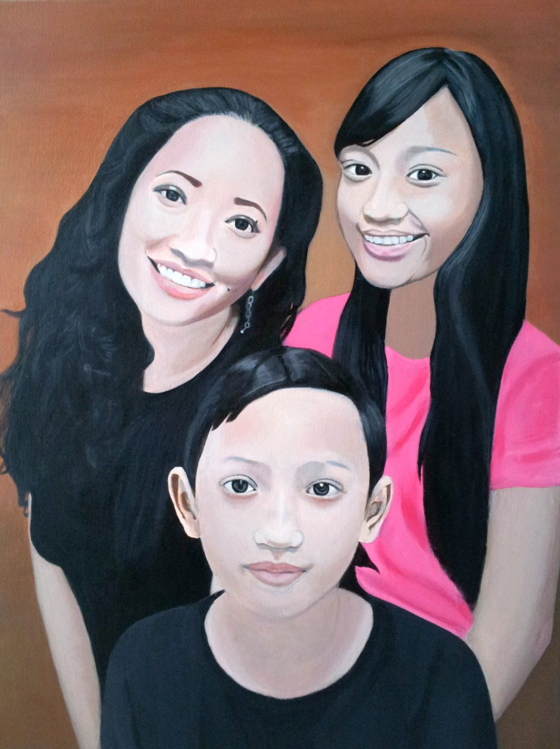 Custom Family Portrait Painting;  18 x 24 Oil on Stretched Canvas; Ready to Hang - MyArtscape
