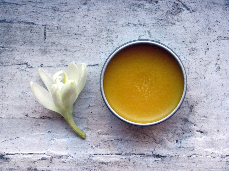 no. 2 solid perfume - botanical fragrance, tuberose, saffron, sandalwood, wild sweet orange, vanilla - MarbleandMilkweed