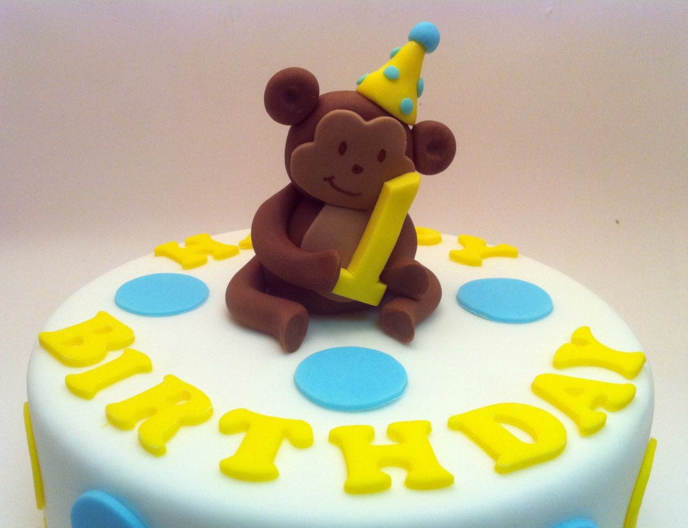 2 mod monkey and banana cake toppers of edible by - Banana cake decoration ...