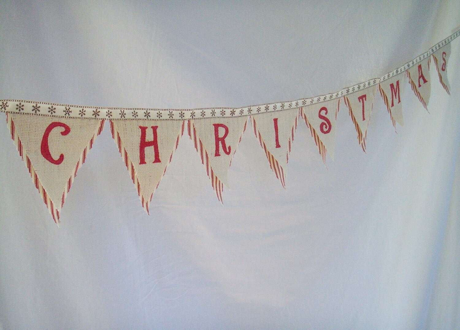 Merry Christmas Bunting burlap and fabric holiday banner FREE SHIPPING
