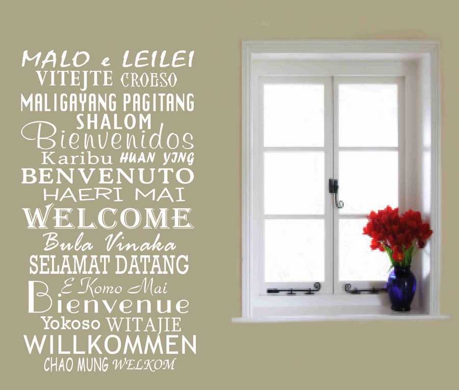 Welcome decals in international languages vinyl wall by for International wall decor