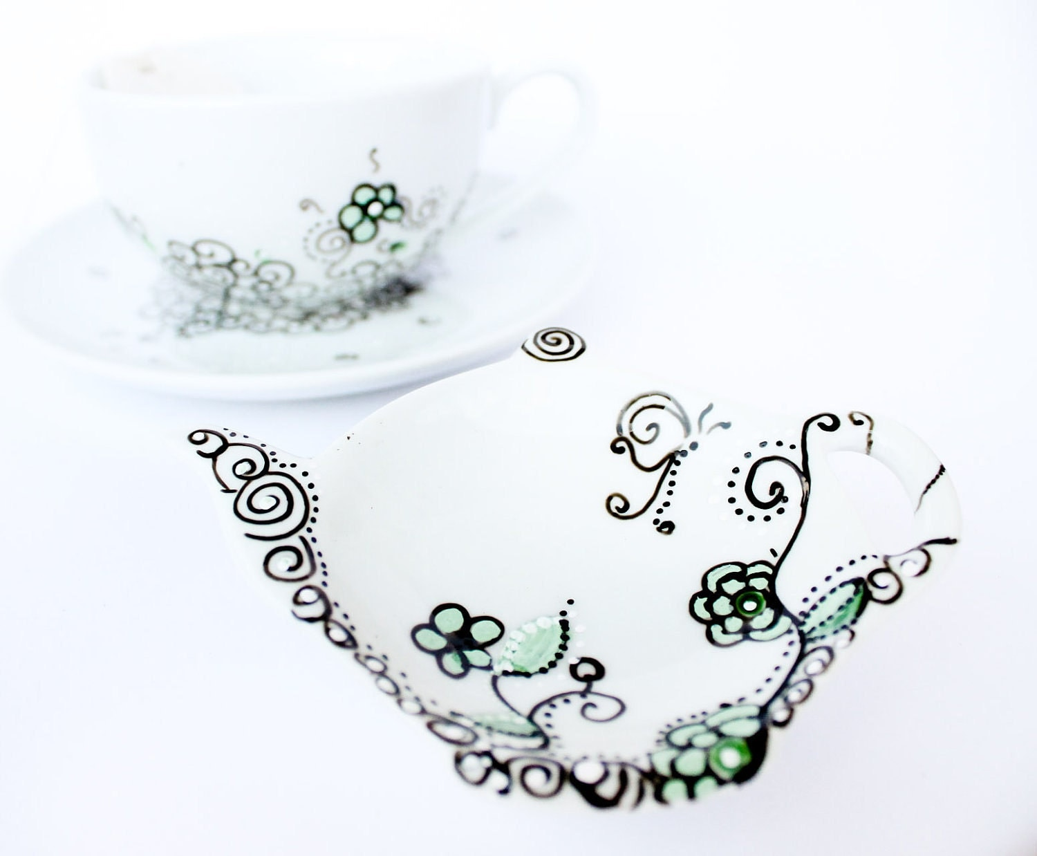 Teapot tea bag holder -  Mint Tea - CraftUnikat