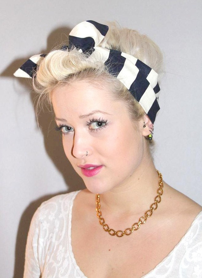 Sailor Stripe 50s Style Head Scarf  Neck Tie by gobbolino on Etsy Tie Fashion Head Scarves