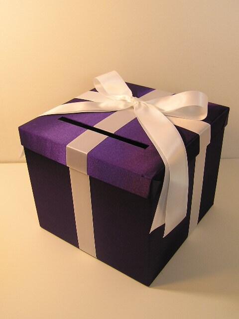 Purple Wedding Gift Card Box : Purple and White Wedding Card Box Gift Card Box Money Box Holder ...