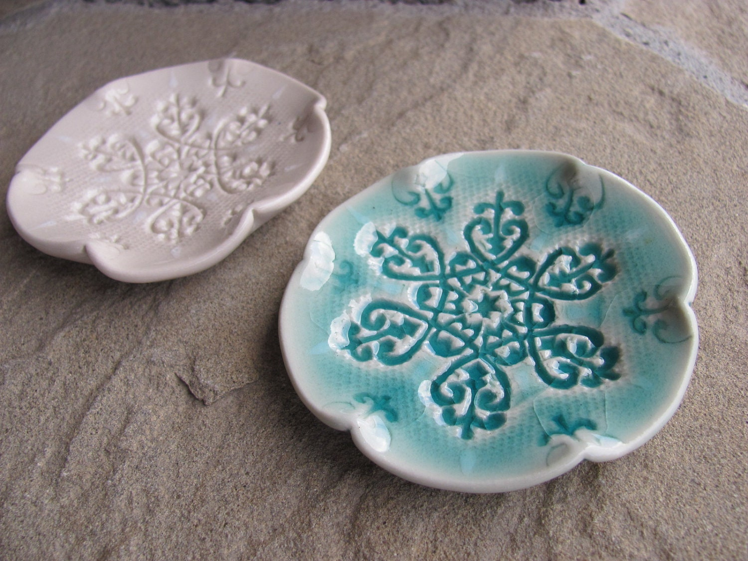 Trinket Dish Ceramic White or Aqua Blue Porcelain Stamped with Snowflake Textured Winter Snow Ice