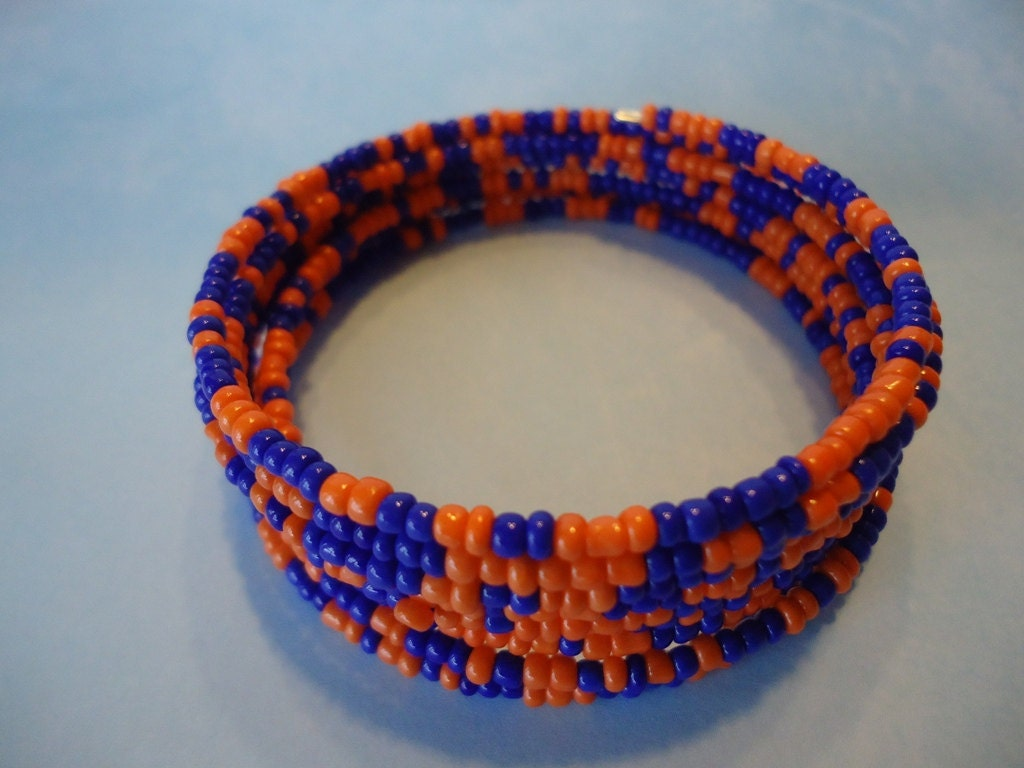College Football Blue and and Orange Wrap Bracelet