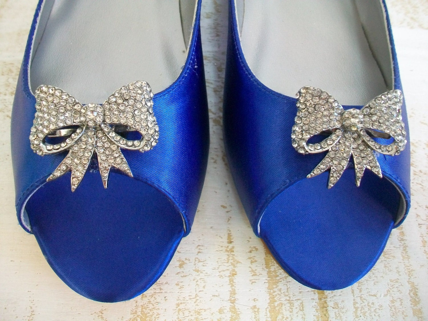 Wedding Shoes Flats Crystal Bow Blue Flats Dyeable By Parisxox