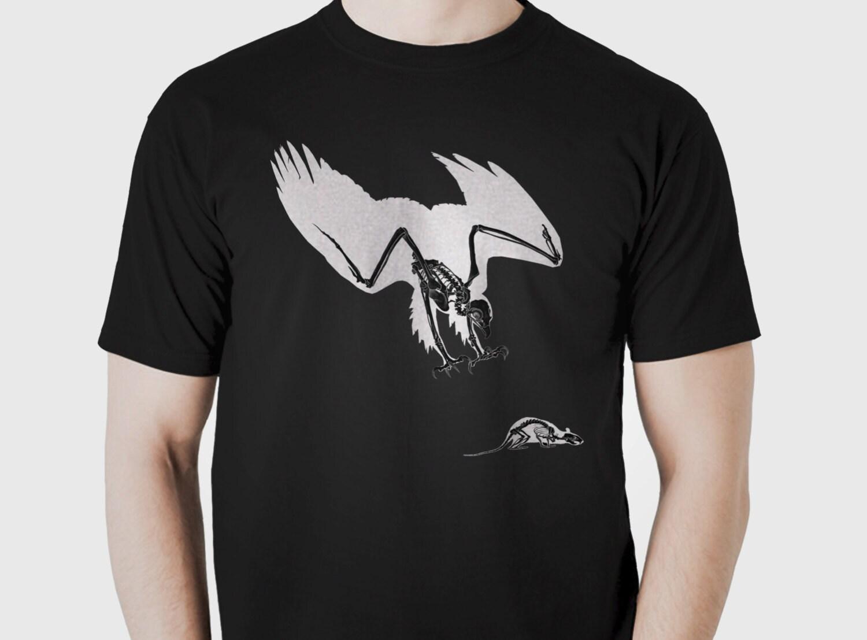 Eagle Skeleton Tshirt Original Animal Punk Bird Skull Bones Graphic Tee Unisex 100 Cotton Tshirt SMLXLXXL3XL