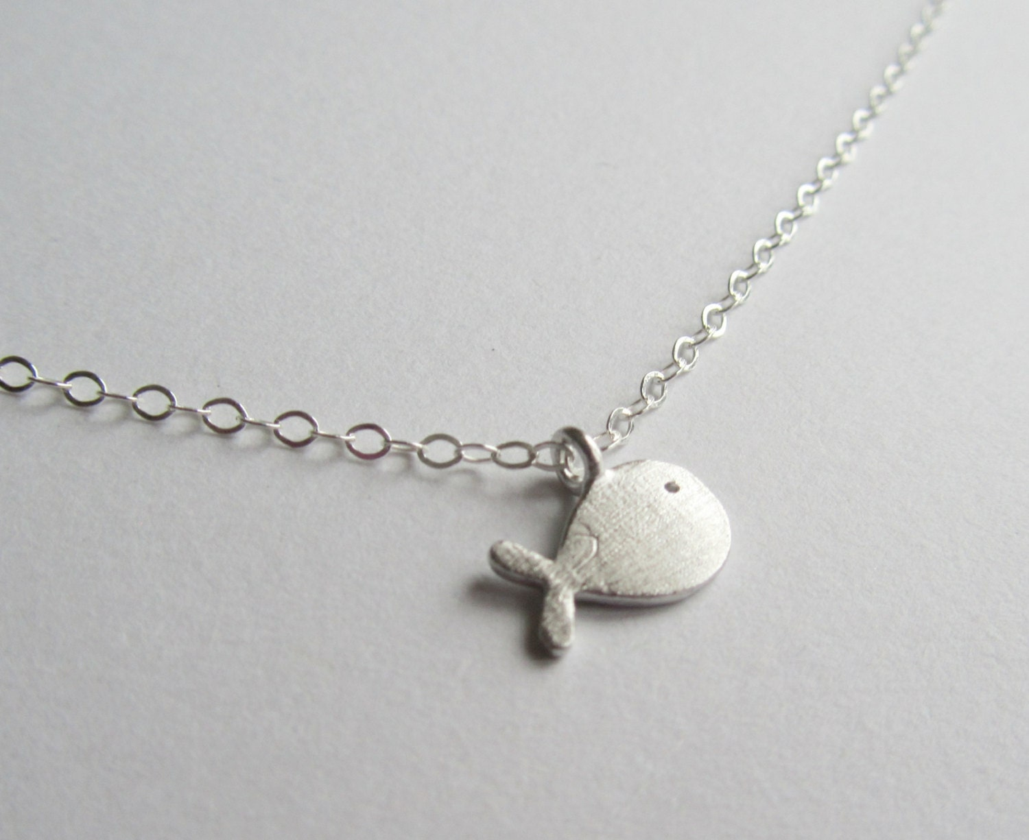 items similar to tiny silver whale necklace tiny silver