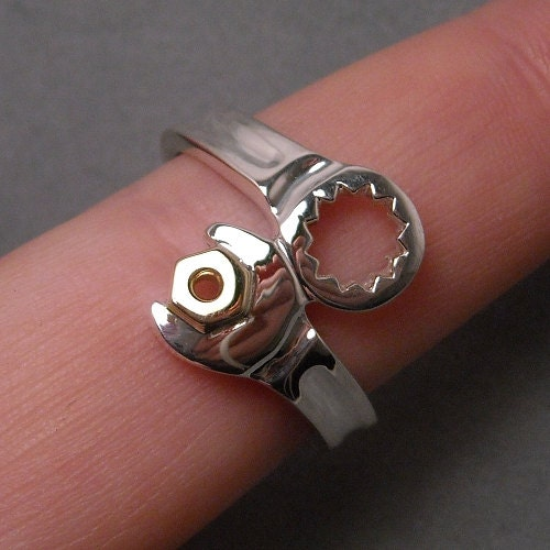wrench ring sterling silver with 14k yg nut by dansmagic